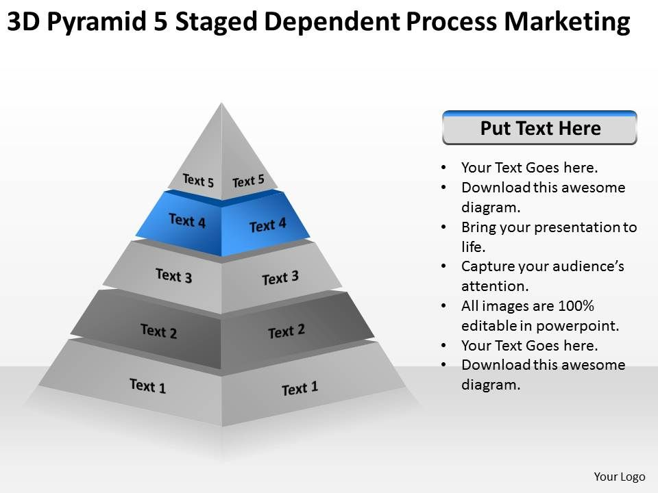 business_model_diagram_3d_pyramid_5_staged_dependent_process_marketing ...