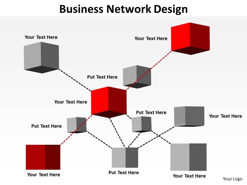 business network design shown by inter connected blocks cubes boxes