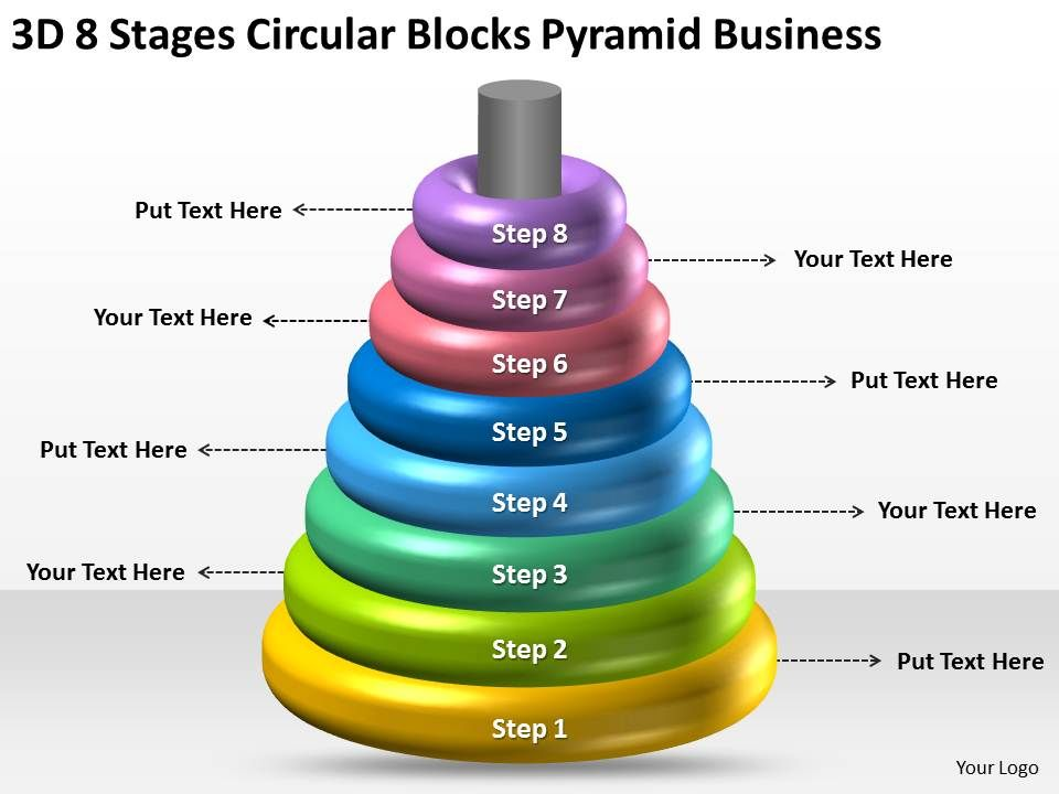 business_network_diagram_3d_8_stages_circular_blocks_pyramid_powerpoint_slides_Slide01