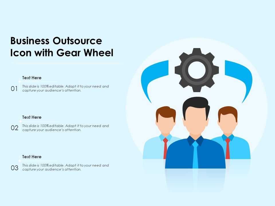 Business Outsource Icon With Gear Wheel