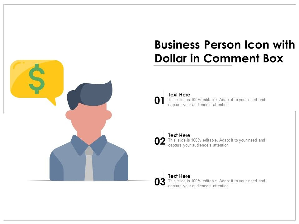 business person icon with dollar in comment box presentation graphics presentation powerpoint example slide templates slideteam