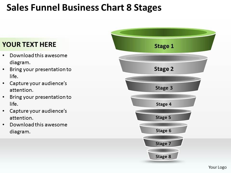 business plan sales funnel chart 8 stages powerpoint templates ppt, Modern powerpoint