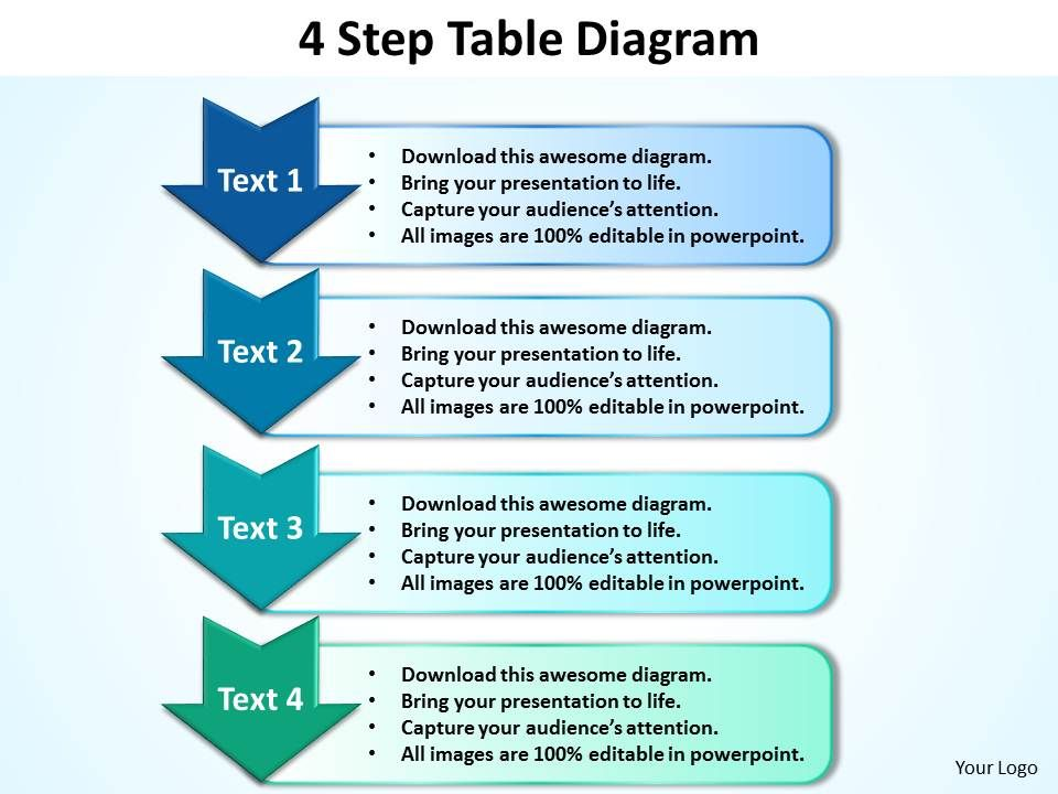 business powerpoint templates 4 step table diagram editable sales, Modern powerpoint