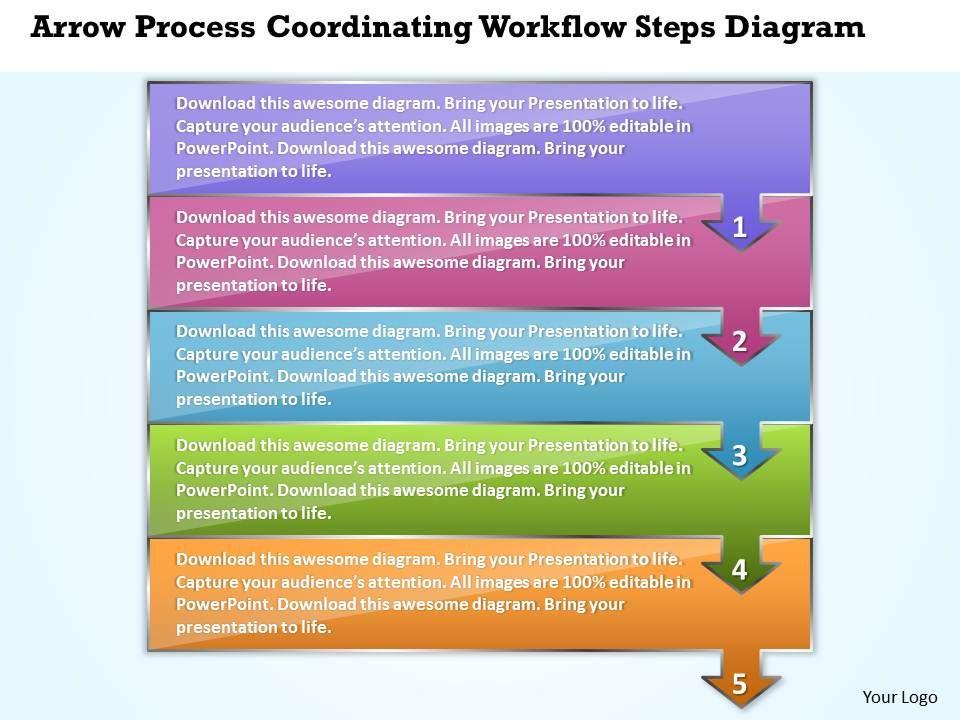 business powerpoint templates arrow process coordinating workflow steps diagram sales ppt slides. Black Bedroom Furniture Sets. Home Design Ideas