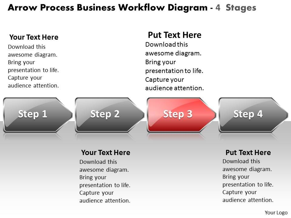 business powerpoint templates arrow process workflow diagram 4