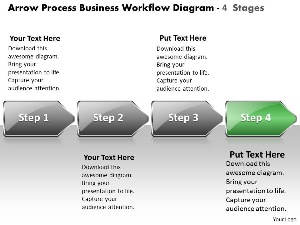 business powerpoint templates arrow process workflow diagram 4, Modern powerpoint