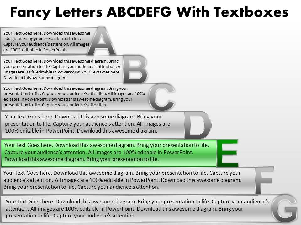 business powerpoint templates fancy letters abcdefg with textboxes