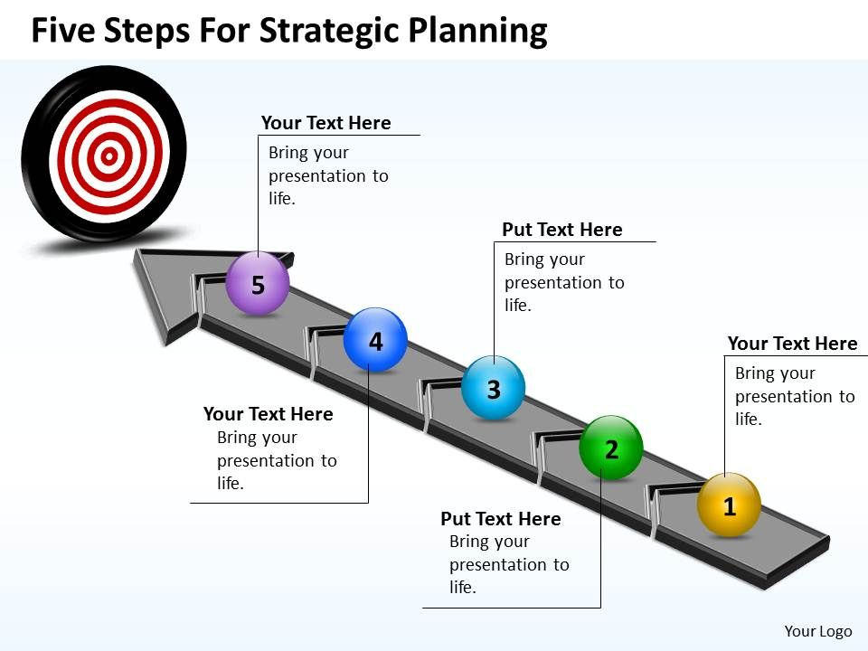 business powerpoint templates five steps for strategic planning, Presentation templates
