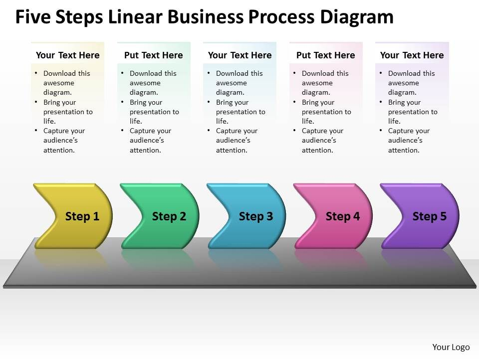 business powerpoint templates five steps linear process diagram