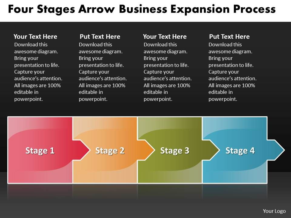 business powerpoint templates four stages arrow expansion process