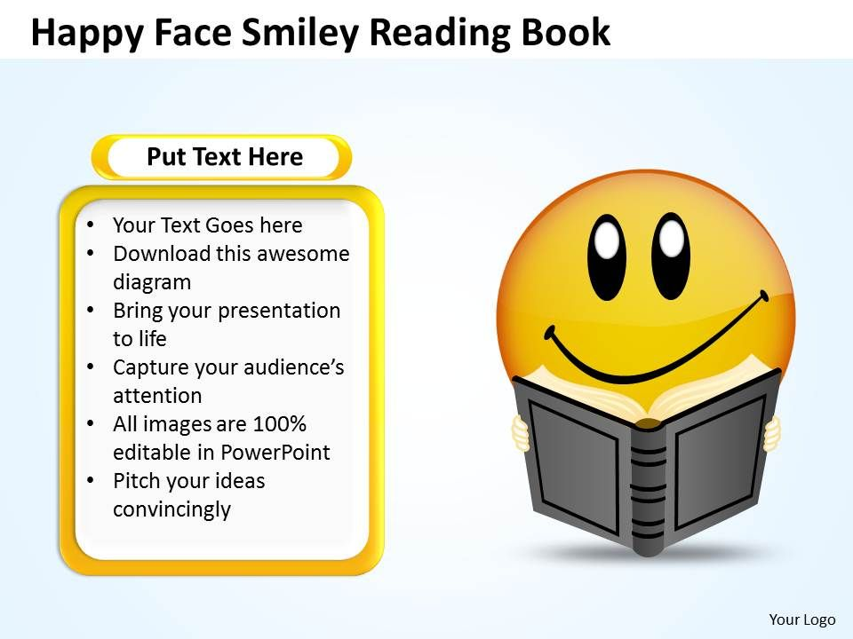 business powerpoint templates happy face smiley reading book 120, Modern powerpoint