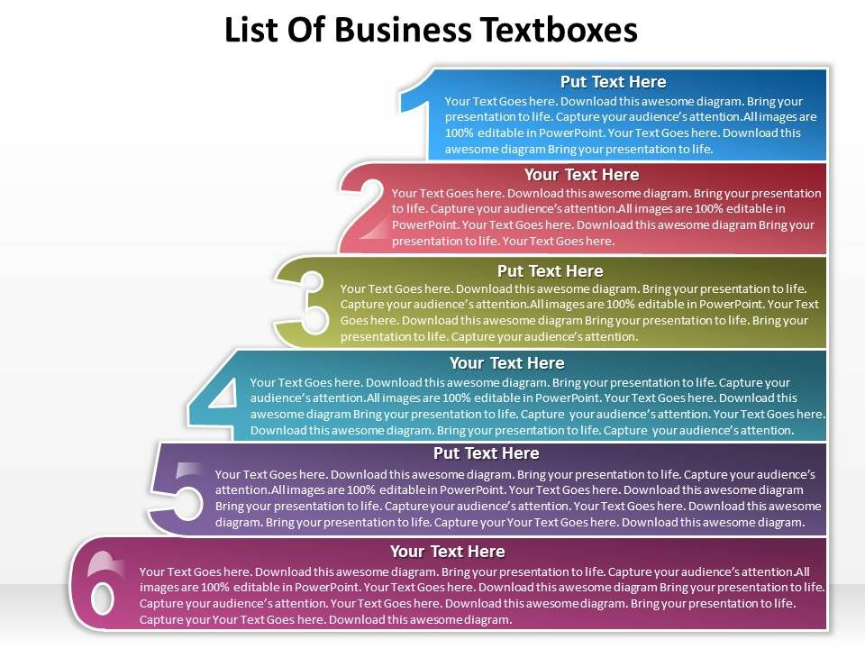 business powerpoint templates list of textboxes sales ppt slides