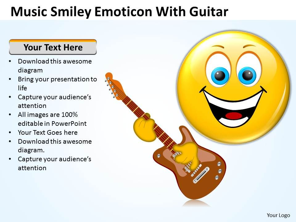 Business powerpoint templates music smiley emoticon with guitar sales