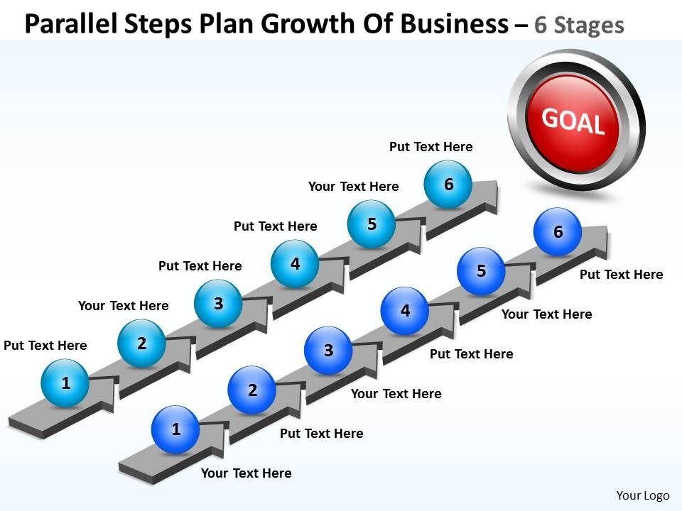 business powerpoint templates parallel steps plan growth of sales