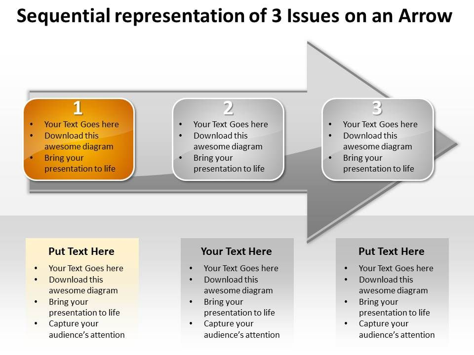 business powerpoint templates sequential representation of 3, Modern powerpoint