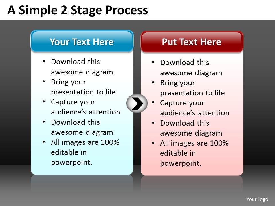 business powerpoint templates simple 2 stage circular flow editable
