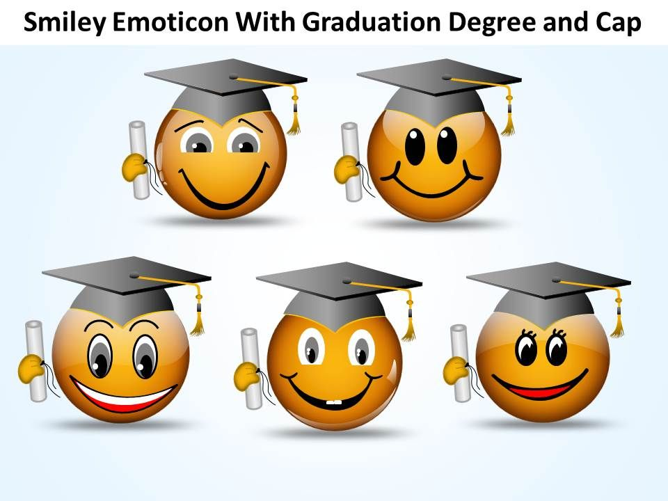 business powerpoint templates smiley emoticon with graduation, Powerpoint templates