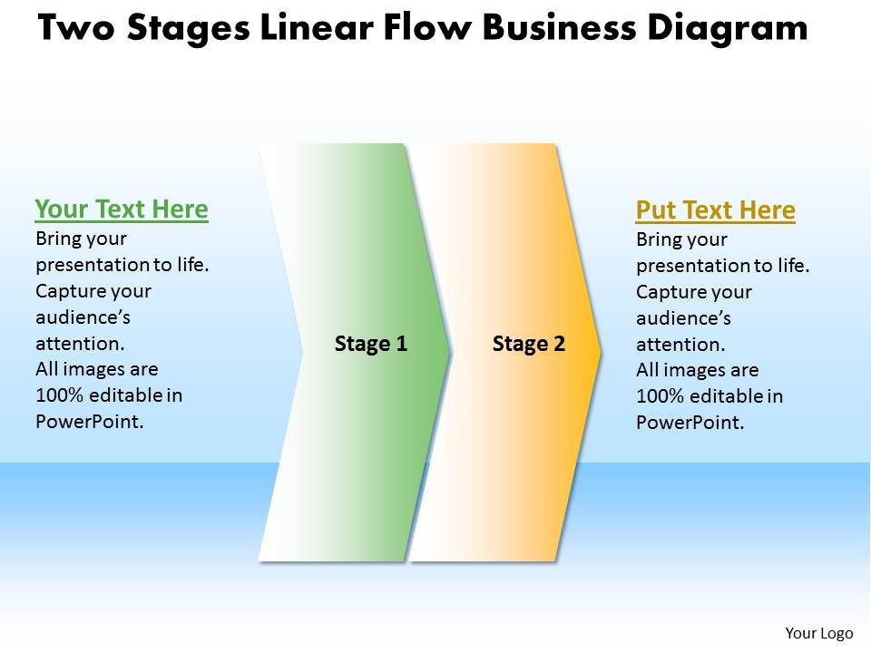business powerpoint templates two stages linear flow diagram sales