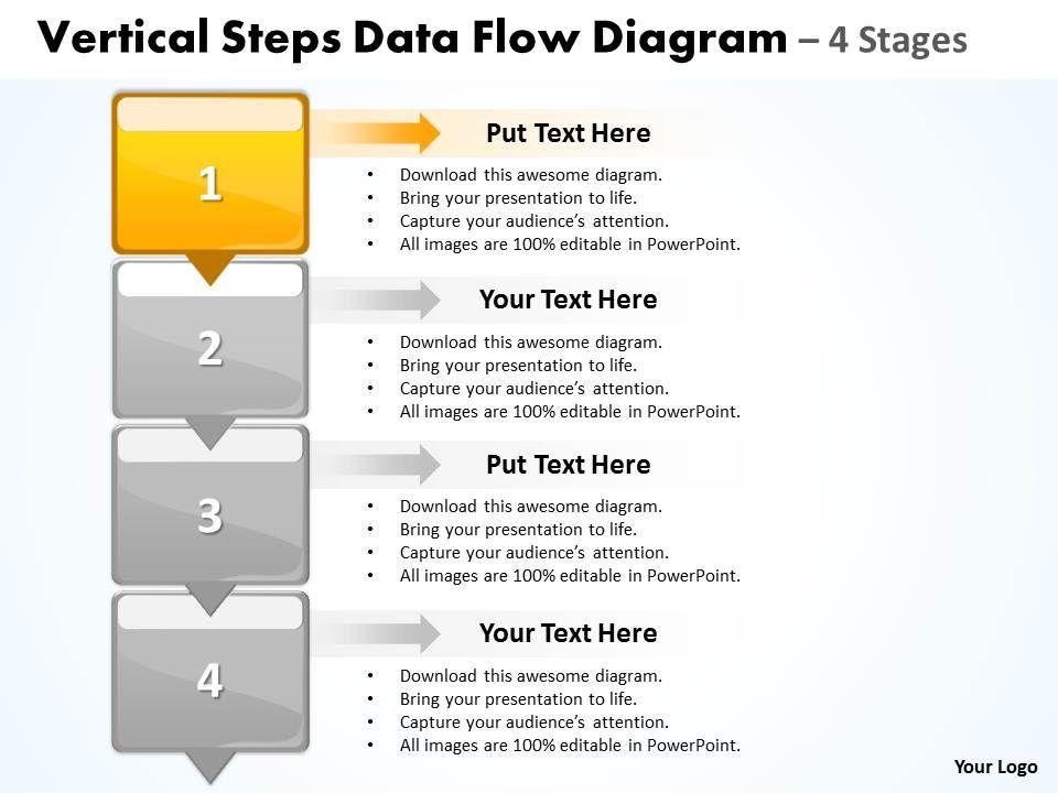 Business Powerpoint Templates Vertical Steps Data Flow