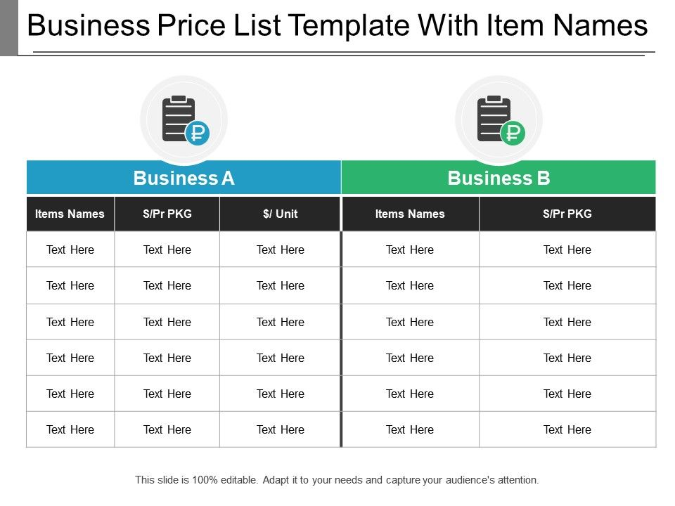 Business Price List Template With Item Names | PowerPoint Design ...