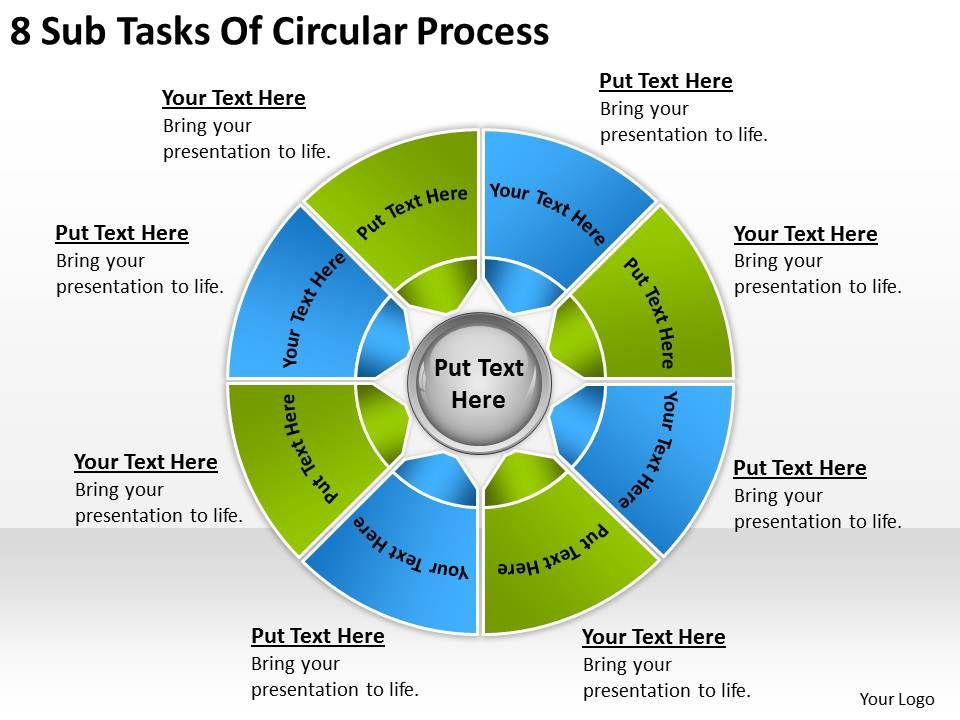 Business Process Diagram Examples 8 Sub Tasks Of Circular Powerpoint