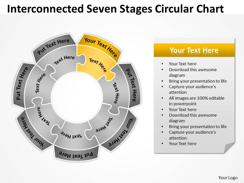 Business Process Diagram Visio Seven Stages Circular Chart Concept