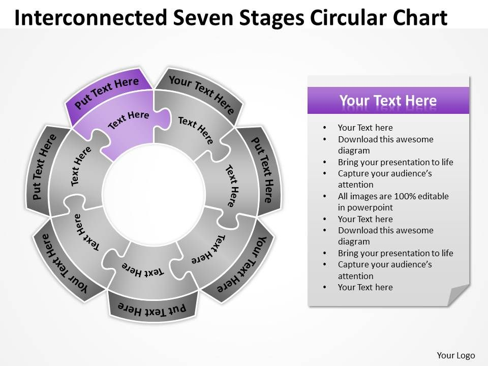 Business Process Diagram Visio Seven Stages Circular Chart Concept ...