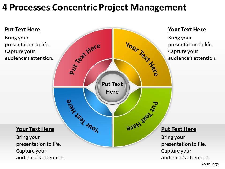 business process diagrams 4 processess concentric project, Modern powerpoint