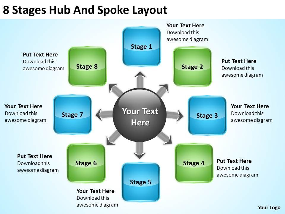 business_process_flow_8_stages_hub_and_spoke_layout_powerpoint_templates_Slide01