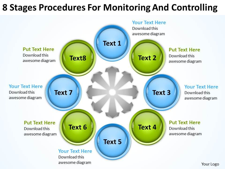 business_process_flow_8_stages_procedures_for_monitoring_and_controlling_powerpoint_templates_Slide01