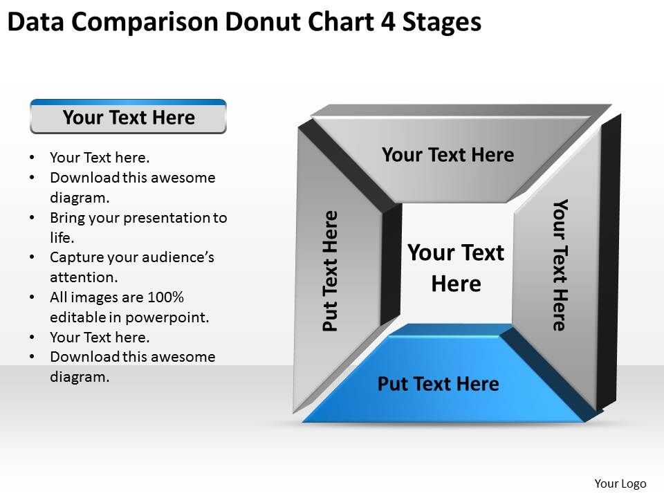 Business Process Flow Diagram Data Comparison Donut Chart 4 Stages