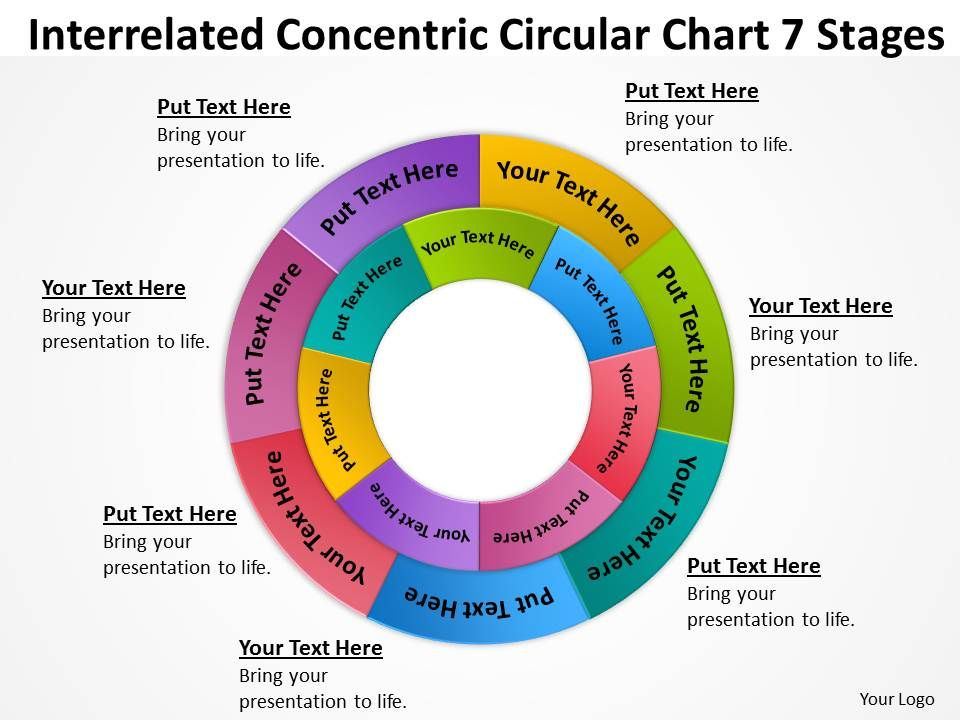 business_process_flowchart_concentric_circular_multicolored_7_stages_powerpoint_slides_Slide01