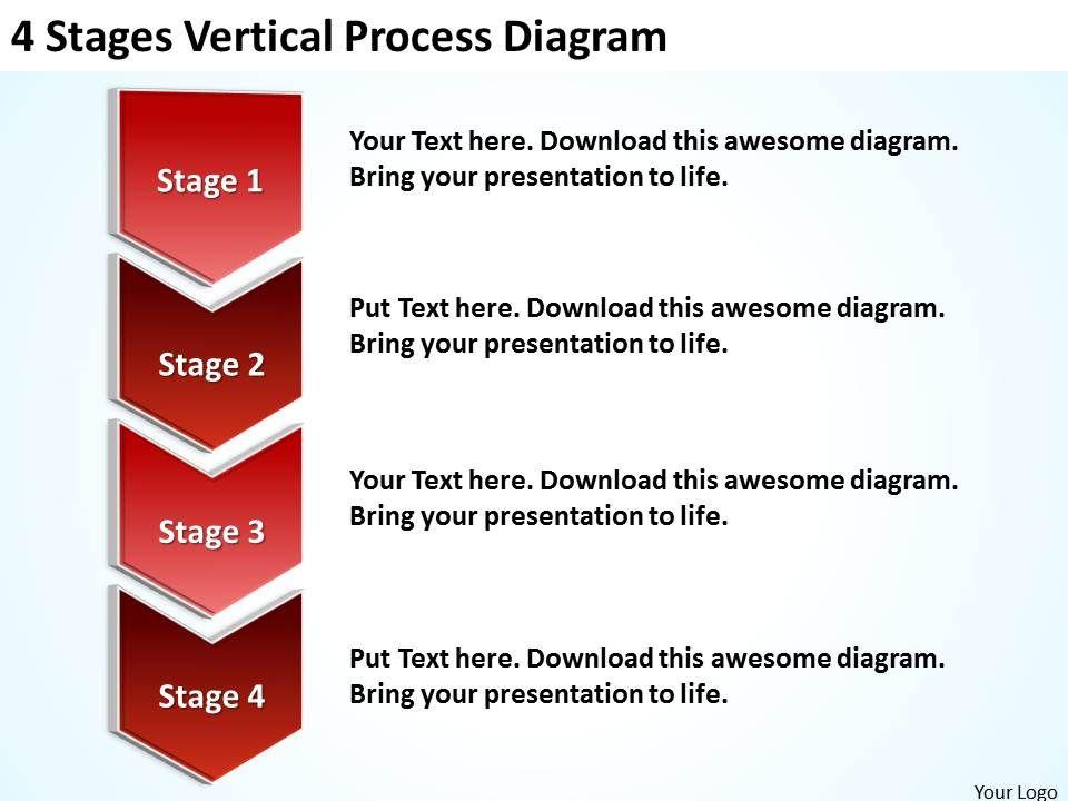 business_process_model_diagram_4_stages_vertical_powerpoint_slides_Slide01