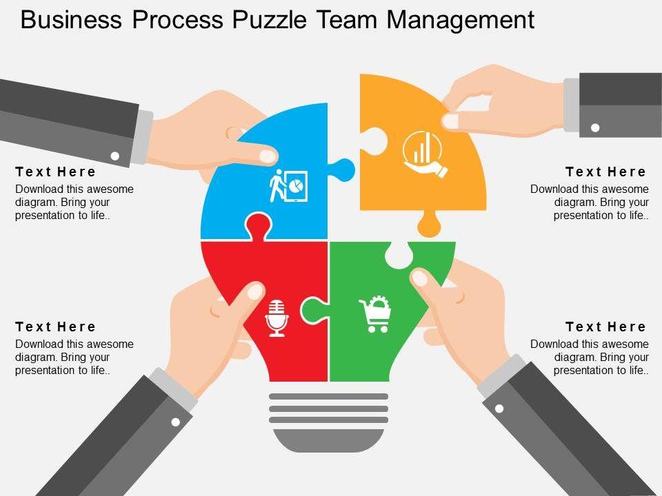 business_process_puzzle_team_management_flat_powerpoint_design_Slide01