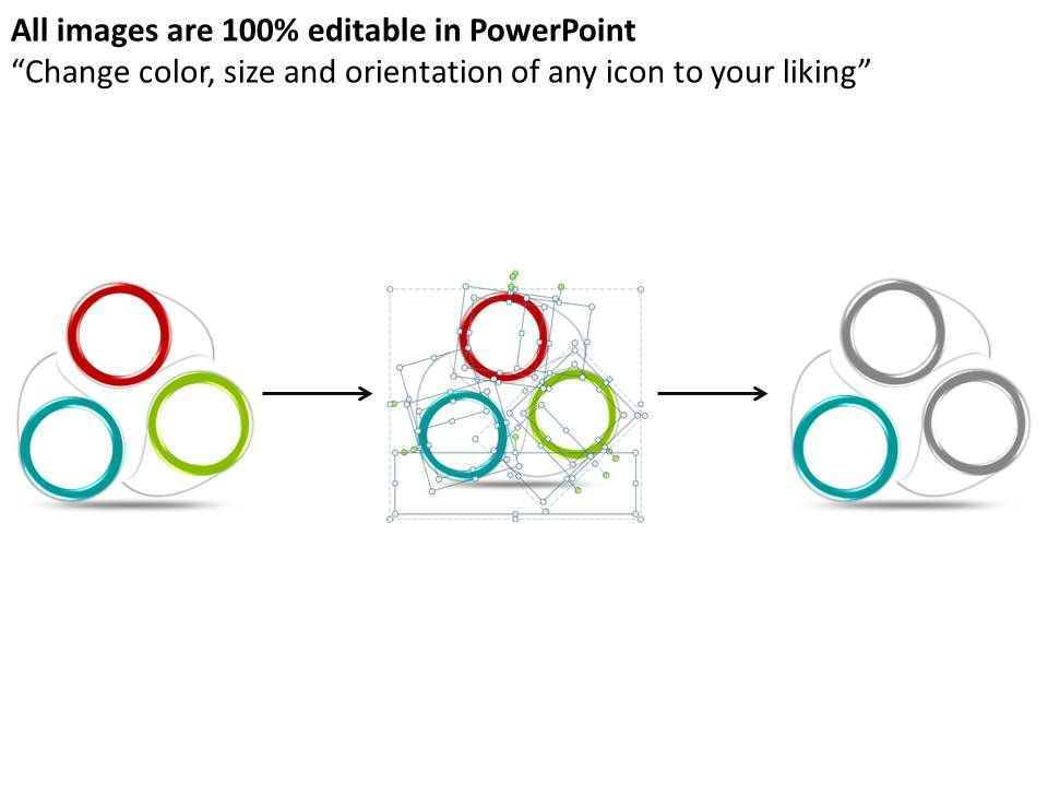 business progress cycle 3 stages powerpoint templates