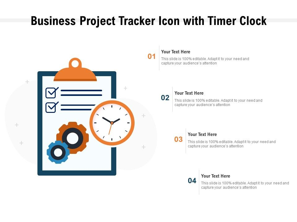 Business Project Tracker Icon With Timer Clock