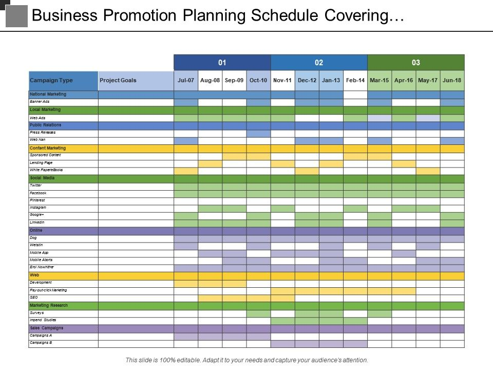 Business Promotion Planning Schedule Covering Campaign ...