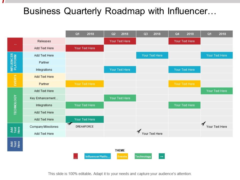 business_quarterly_roadmap_with_influencer_platform_events_and_technology_Slide01