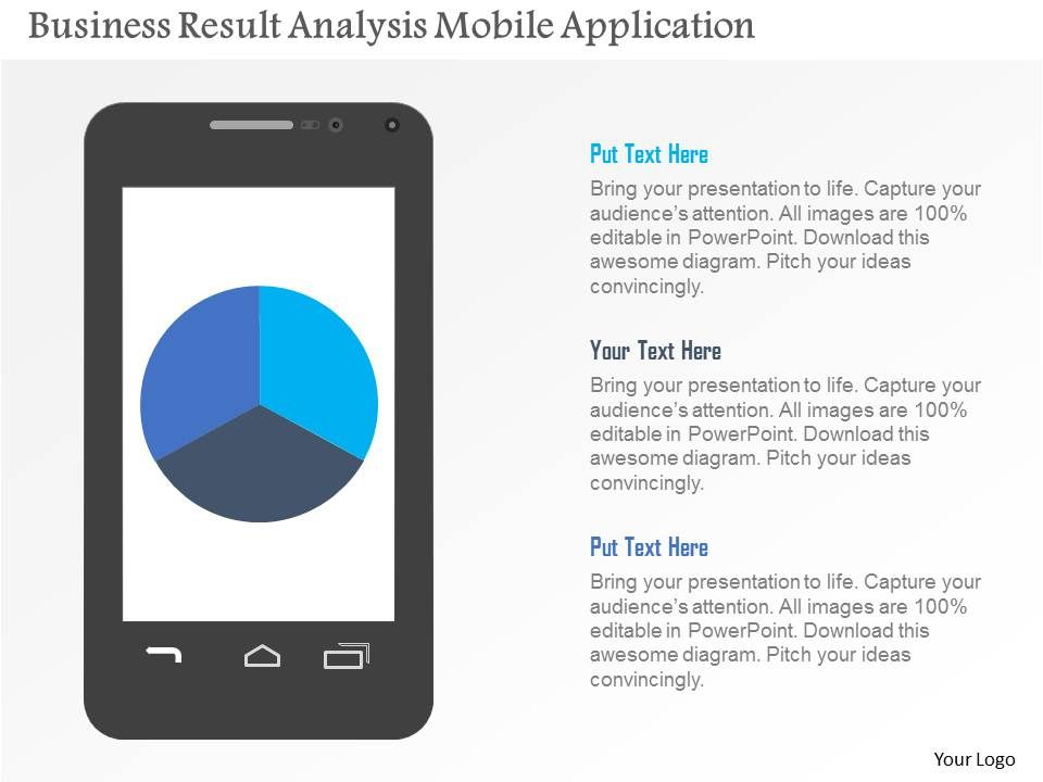 business result analysis mobile application flat powerpoint design, Presentation templates