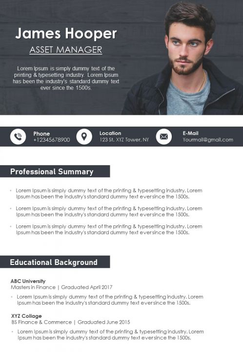 Business Resume Template For Managers And Executives CV Download