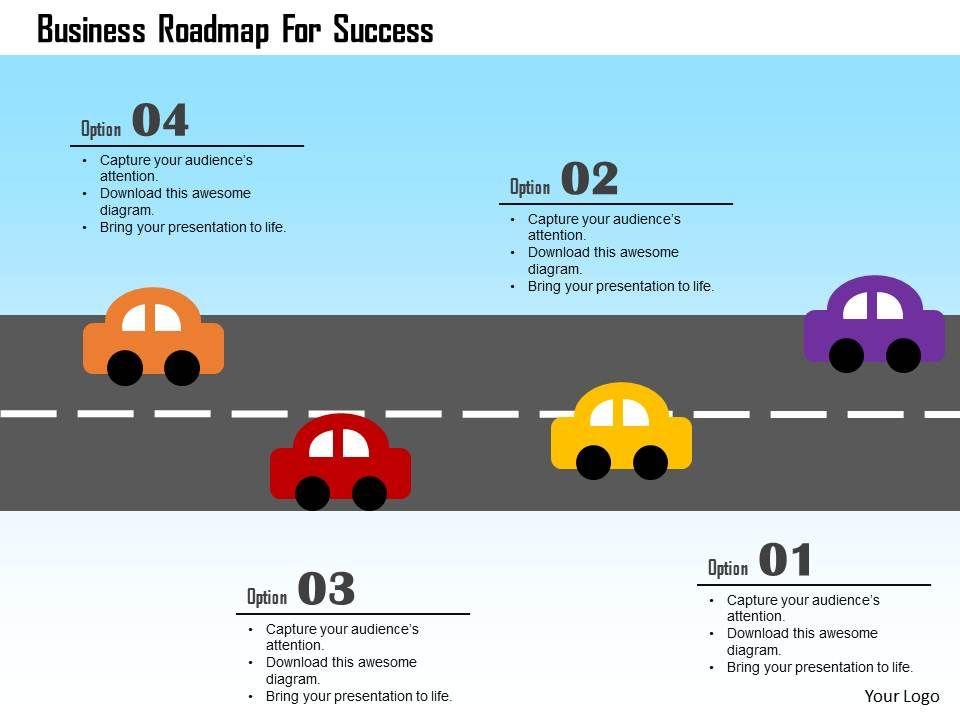 business roadmap for success flat powerpoint design powerpoint