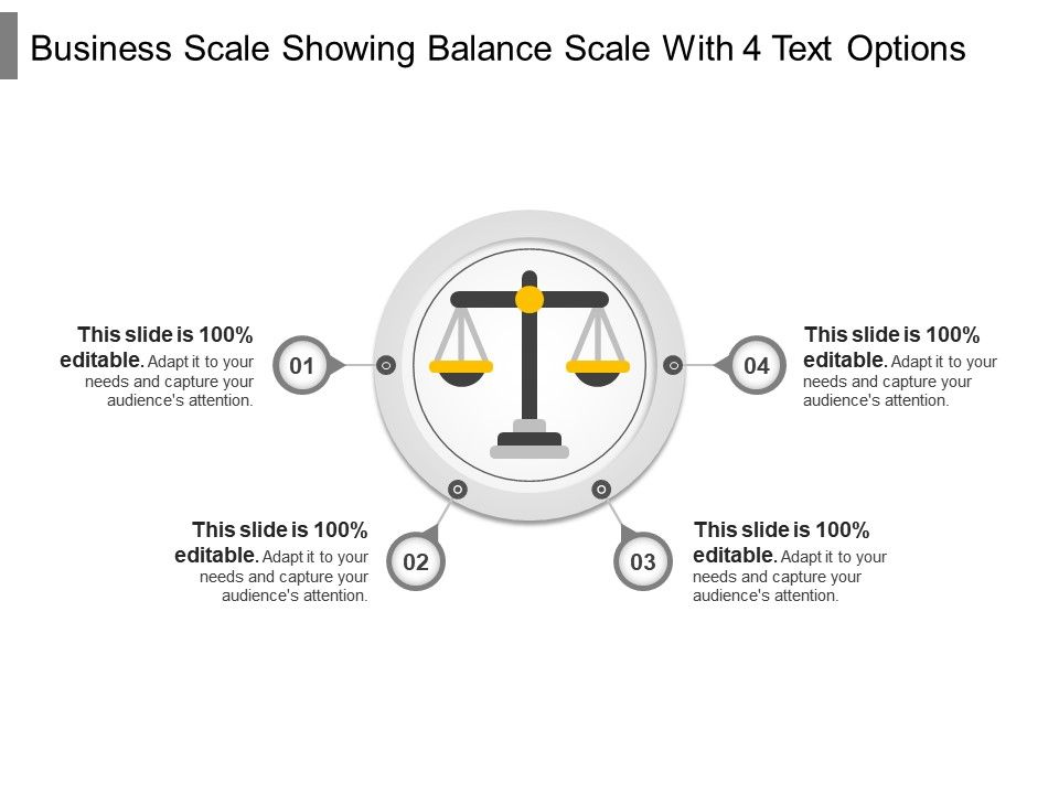 business_scale_showing_balance_scale_with_4_text_options_Slide01
