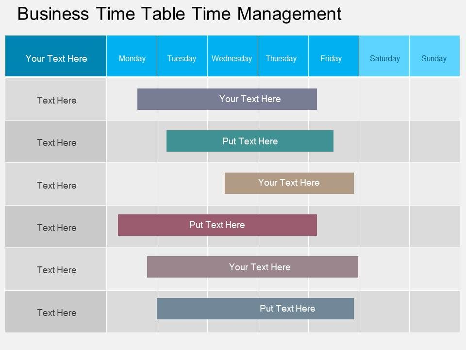Business time table time management flat powerpoint design for Table design ppt