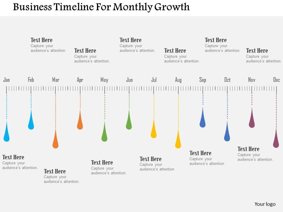 business timeline for monthly growth flat powerpoint design