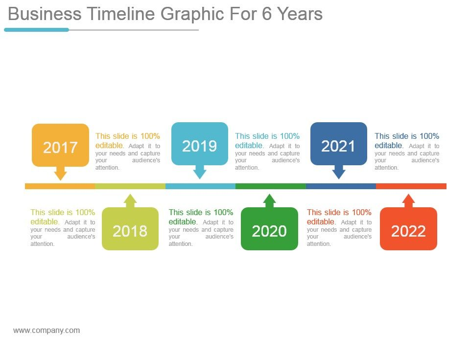 business timeline graphic for 6 years powerpoint slide ideas