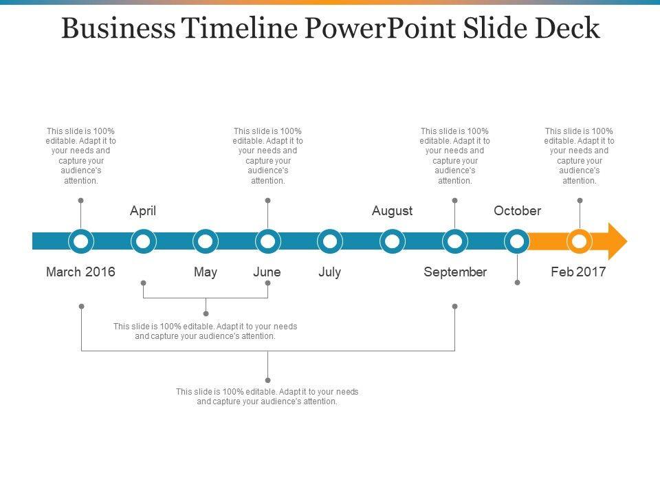 business timeline powerpoint slide deck powerpoint slide