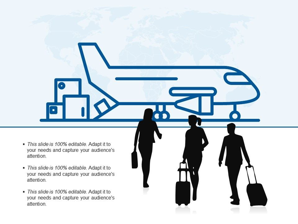 Business Travel Silhouette Carrying Suitcase And Airplane Presentation Powerpoint Templates Ppt Slide Templates Presentation Slides Design Idea