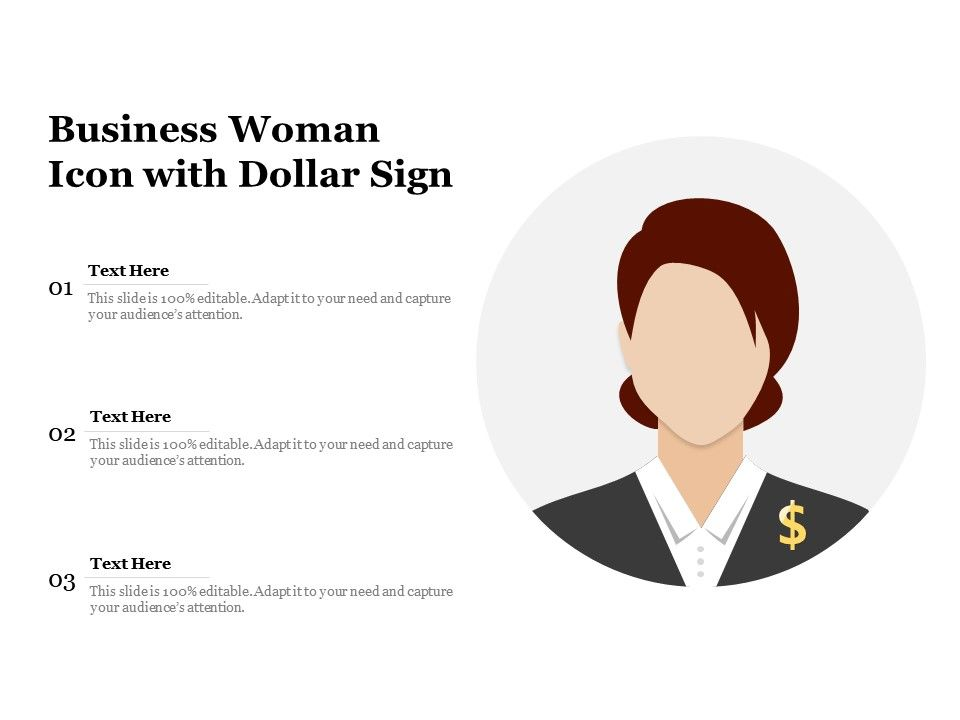 Business Woman Icon With Dollar Sign