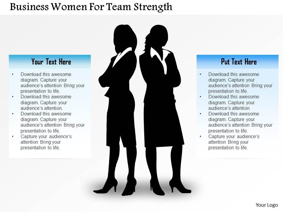 Business Women For Team Strength Powerpoint Template