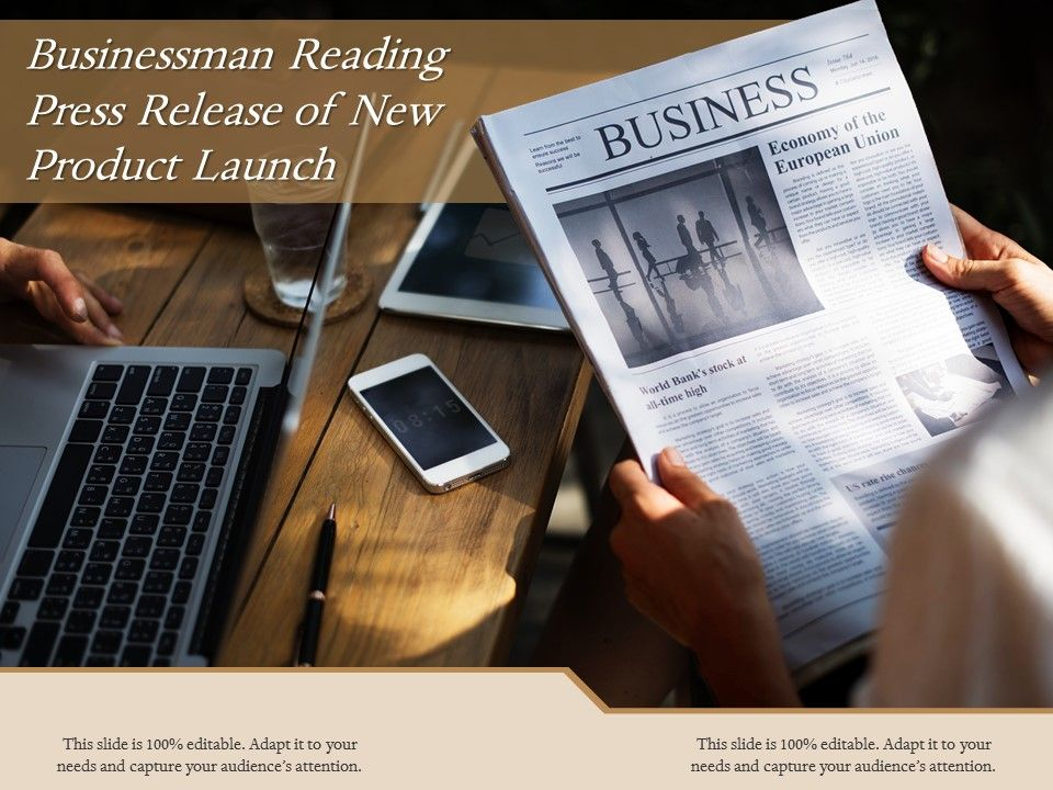 Businessman Reading Press Release Of New Product Launch